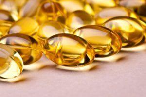 Close up of vitamin D capsules