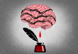 illustration of a creative brain being tortured by being wrapped in barbed wire and bleeding into an ink container
